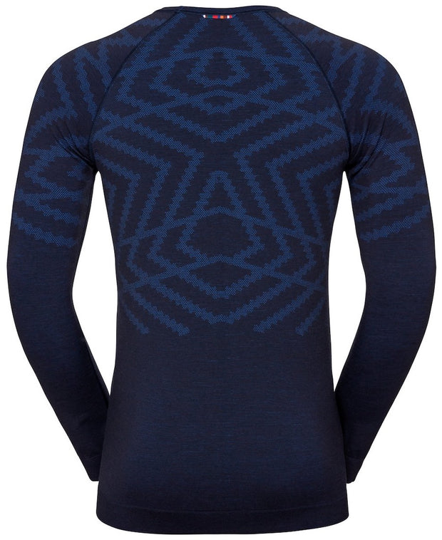Blue patterned base layer long sleeve shirt for men with a snowflake pattern back view
