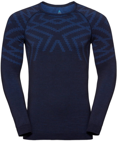 Blue patterned base layer long sleeve shirt for men with a snowflake pattern