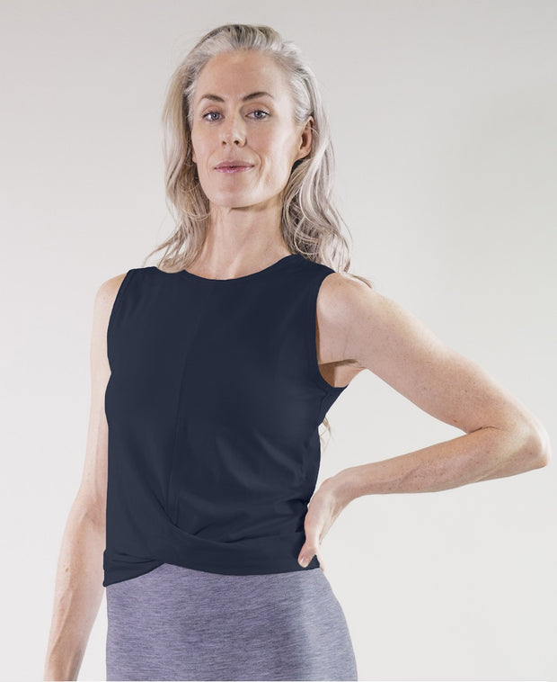 Navy draped tank by Moonchild for Aktiv on Model for pilates in organic cotton and modal