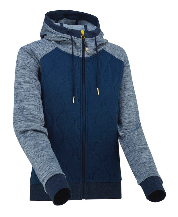 Blue quilted zipped hoodie for women by Kari Traa