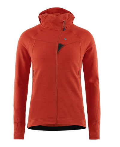 front view of men's njorun 2.0 hoodie by klattermusen in dark redwood maroon available at aktiv
