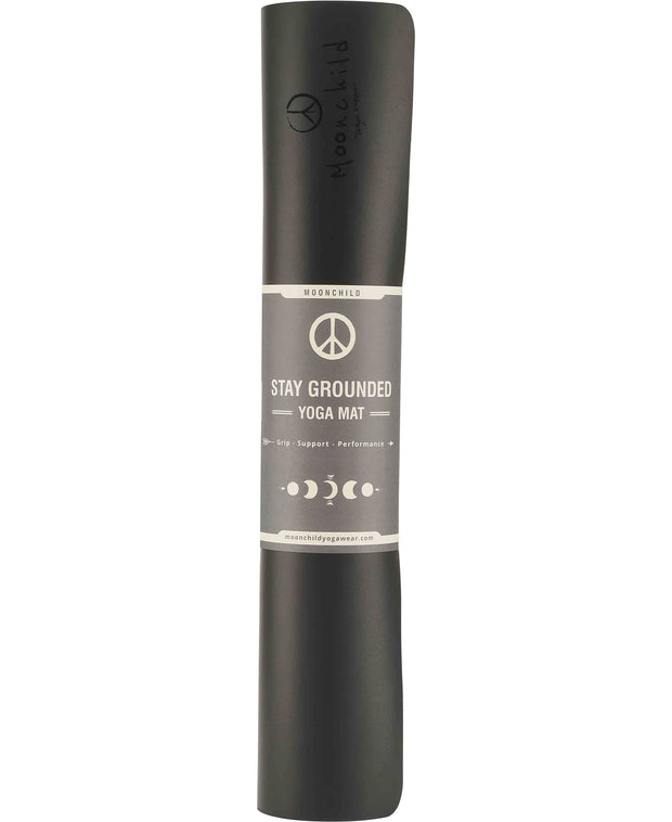 black stay grounded yoga mat by moonchild yoga wear for aktiv scandinavian athleisure rolled up view