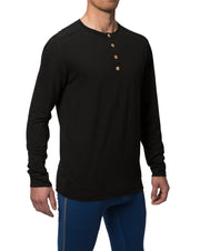 organic wool & silk long sleeve shirt mens black by northern playground for aktiv scandinavian outdoor wear side view