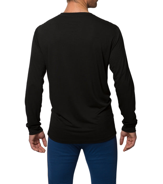 organic wool & silk long sleeve shirt mens black by northern playground for aktiv scandinavian outdoor wear back view