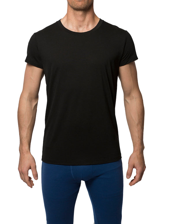 Man wearing a black T-Shirt.