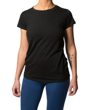 Woman wearing a black T-shirt