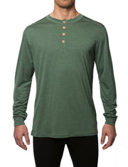 organic wool & silk long sleeve shirt mens green by northern playground for aktiv scandinavian outdoor wear front view