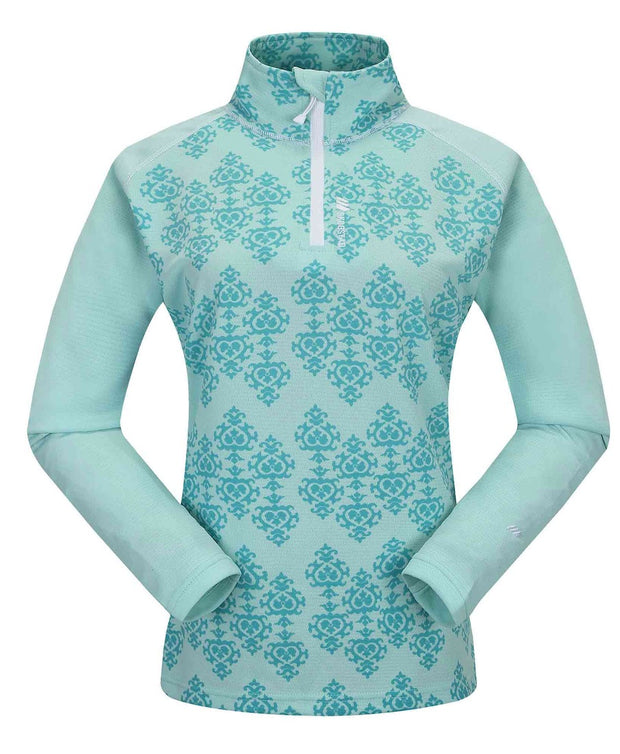 Light green and blue half zip for women showing a design by Skogstad