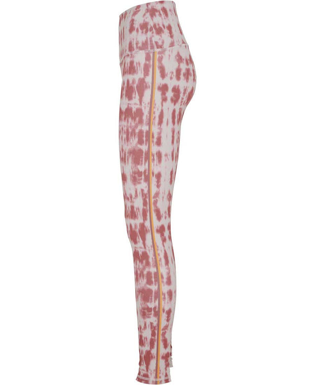 Side View of Blazing Sun Shibori Print leggings with Side Strip in Yellow and Maroon