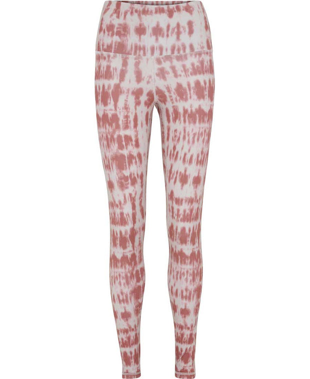 Front View of Blazing Sun Shibori Print leggings with Side Strip in Yellow and Maroon