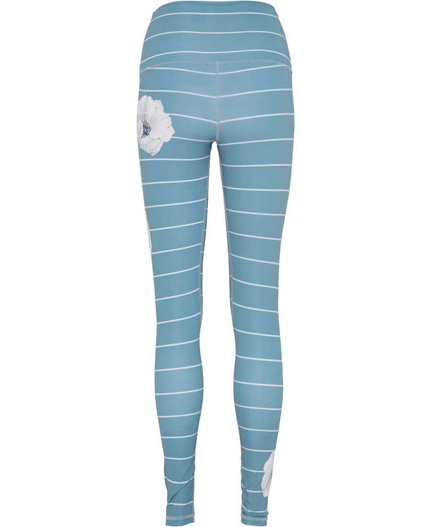 Citadel Blue leggings with white Anemone flowers and barrel stripes back view