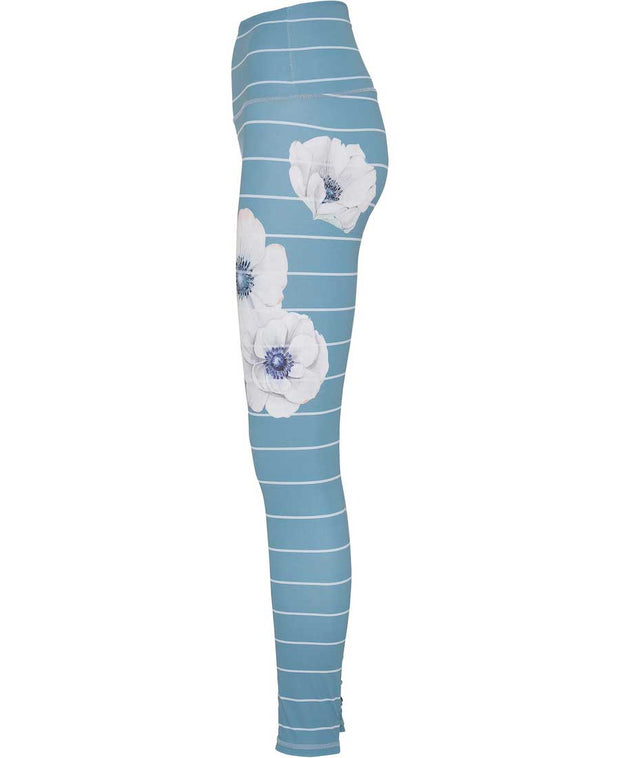 Citadel Blue leggings with white Anemone flowers and barrel stripes side view
