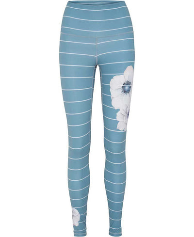 Citadel Blue leggings with white Anemone flowers and barrel stripes front view