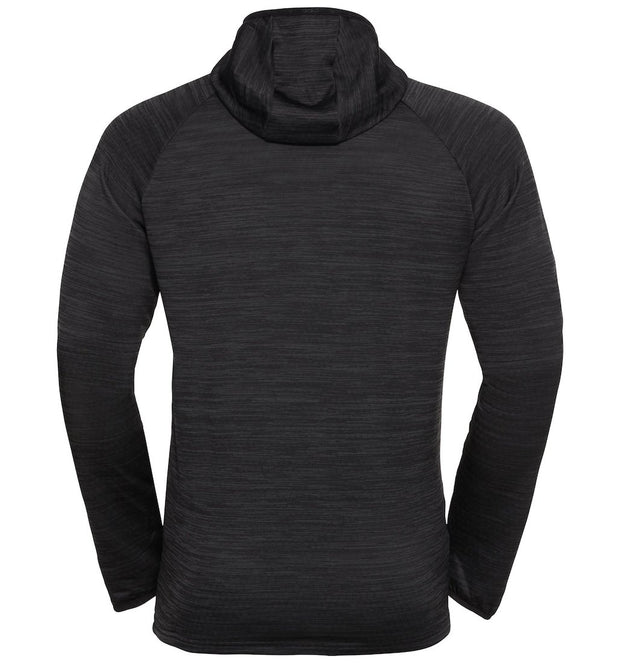 Black hooded sweatshirt for men by Odlo back view