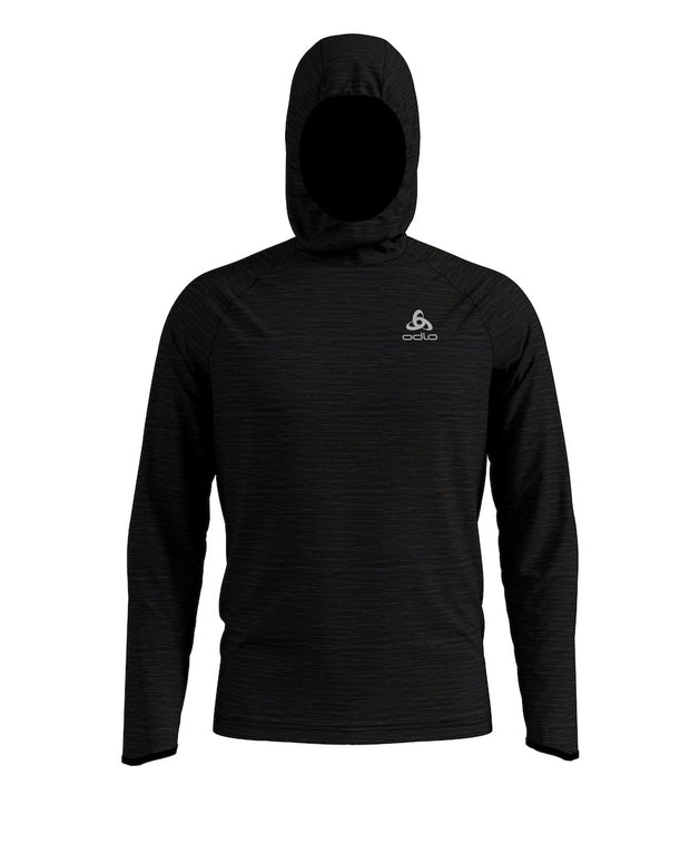 Black hooded sweatshirt for men by Odlo with hood extended