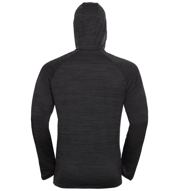 Black hooded sweatshirt for men by Odlo back view with hood extended
