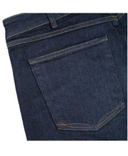 Ravin Indigo Implode Slim Straight denim jeans back pocket close up by Redew for Aktiv Mens