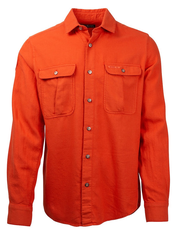 Red, but almost orange, clay flannel cotton button down shirt for men by Amundsen Sports