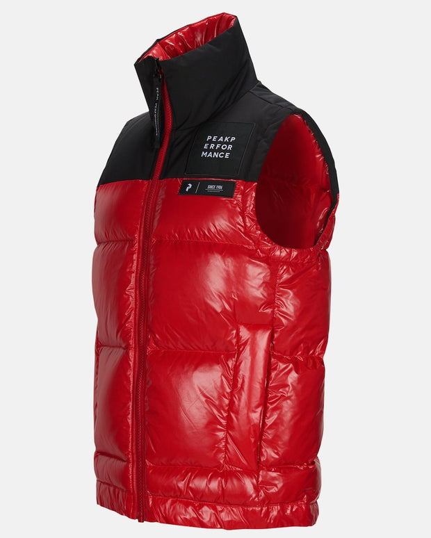 Red puffy vest for men by Peak Performance