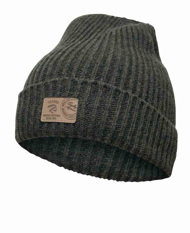 Class Rib knitted hat by Ivanhoe of Sweden for Aktiv in Forest Green.