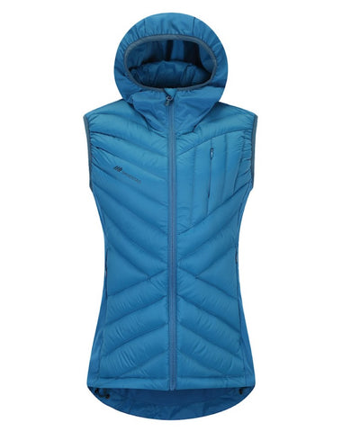 Light Blue Women's Vest with Hood front