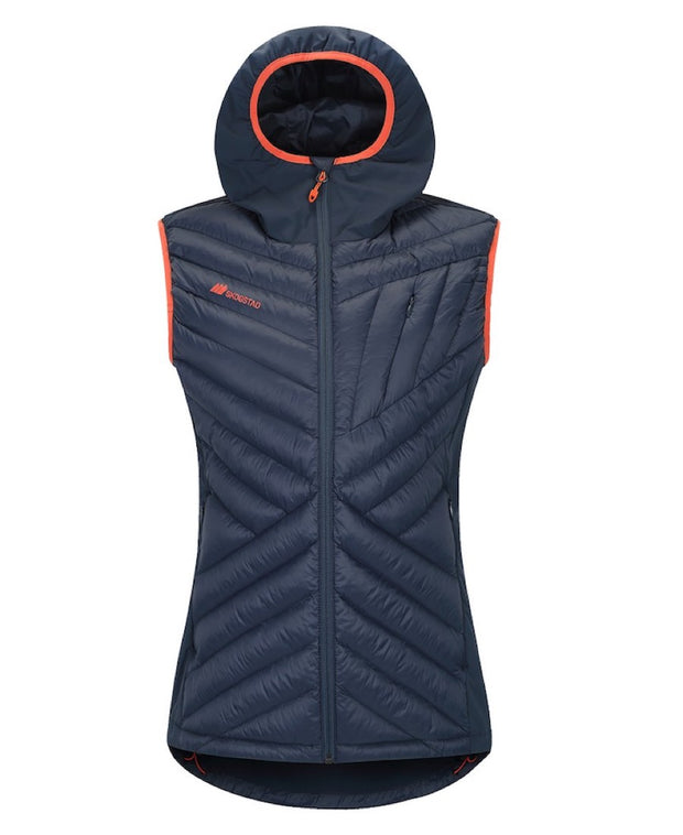 Dark Blue Women's Vest with Hood front