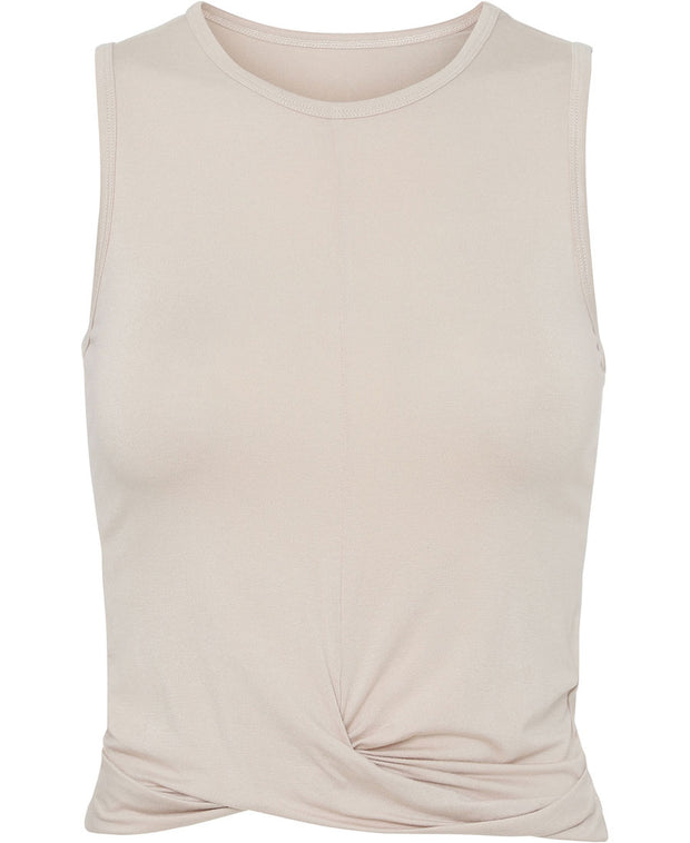 Sand draped tank by Moonchild for Aktiv for pilates in organic cotton and modal front view