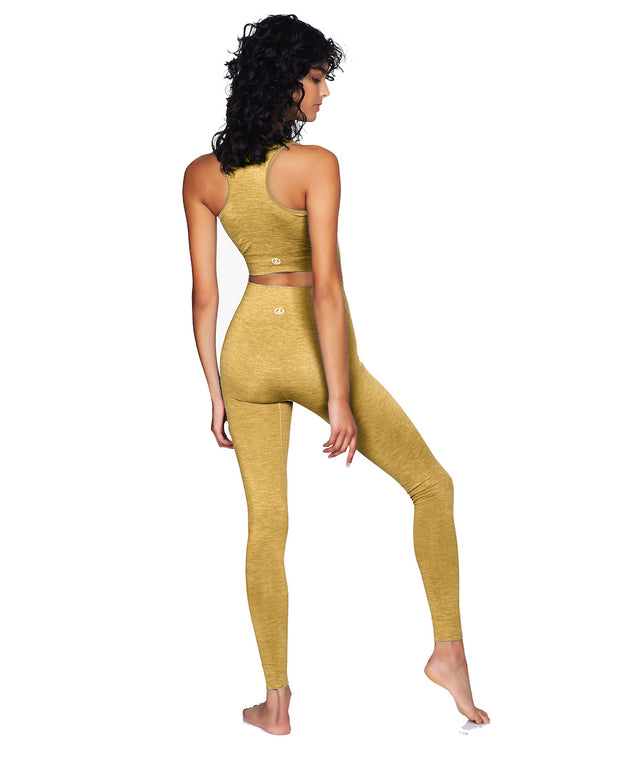 Dandelion yellow seamless leggings and crop top rear view