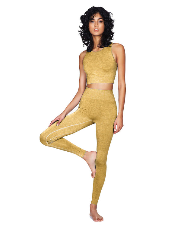 Dandelion yellow seamless leggings and crop top front view on model