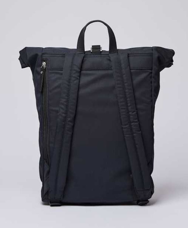 Black rolltop Siv Backpack by Sandqvist of Sweden back view