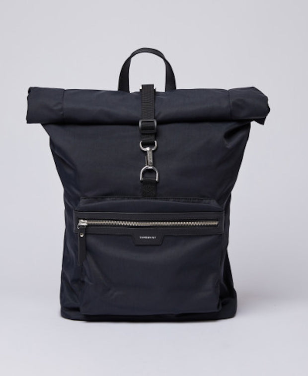 Black rolltop Siv Backpack by Sandqvist of Sweden