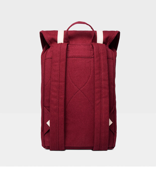 Stig Burgundy backpack back view with natural leather accents by Sandqvist in organic cotton