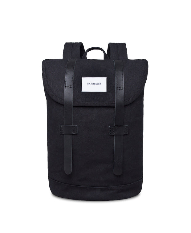 Stig black backpack with black leather accents by Sandqvist in organic cotton