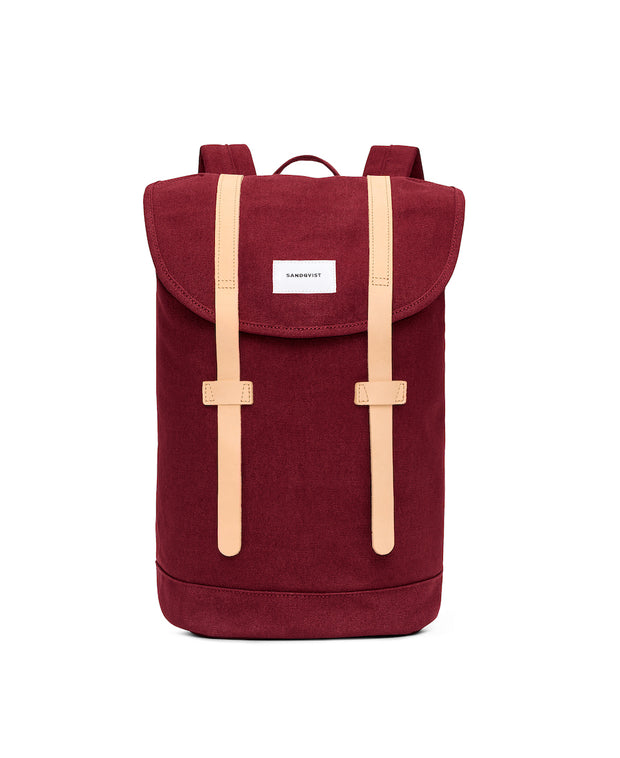 Stig Burgundy backpack with natural leather accents by Sandqvist in organic cotton