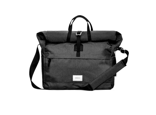 Tor Messenger bag in black with laptop pocket recycled polyester