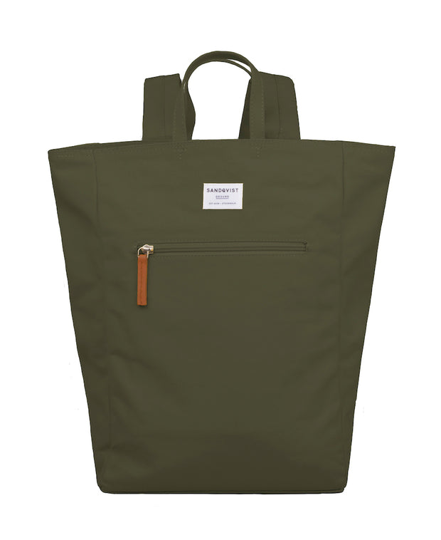 Tony Tote/backpack in Olive with exterior zipper by Sandqvist for Aktiv