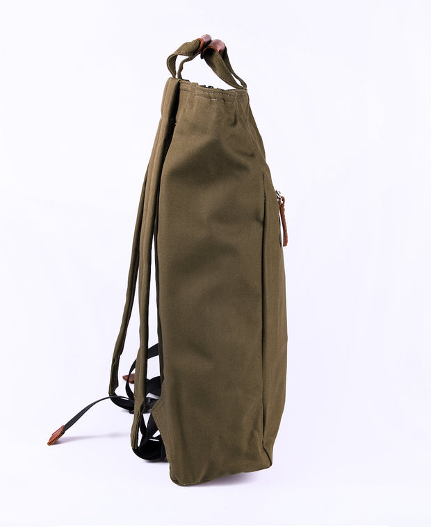 Tony Tote/backpack in Olive Profile view by Sandqvist for Aktiv