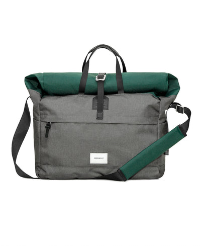 Tor Messenger bag in Gray and Green with laptop pocket