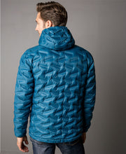 Men's Transform duck down puffy jacket in deep dive blue by 8848 Altitude for Aktiv back on Male model