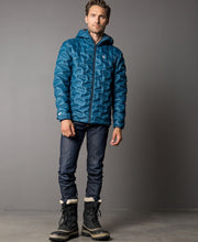 Men's Transform duck down puffy jacket in deep dive blue by 8848 Altitude for Aktiv front on Male model