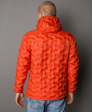Men's Transform duck down puffy jacket in red clay by 8848 Altitude for Aktiv backview on Male model