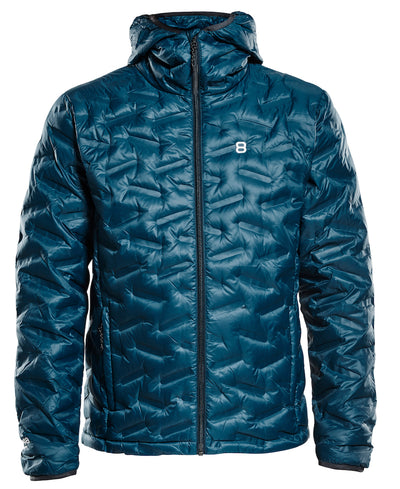 Men's Transform duck down puffy jacket in a deep dive blue by 8848 Altitude for Aktiv