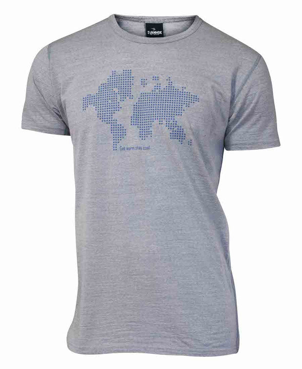 Grey short sleeve t-shirt by Ivanhoe of Sweden for Aktiv with blue world map printed on front