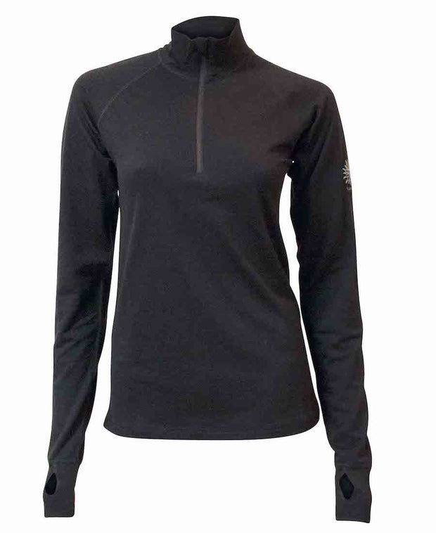 Half Zip merino wool shirt for women by Ivanhoe of Sweden for Aktiv in Black.