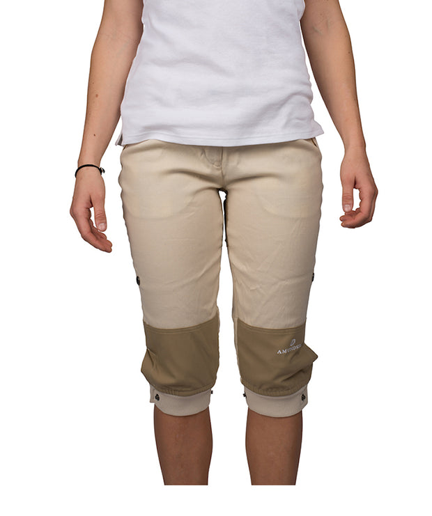 Women's Vagabond Knickerbockers in Desert Sand by Amundsen Sports for Aktiv perfect for hiking in warmer weather on Model