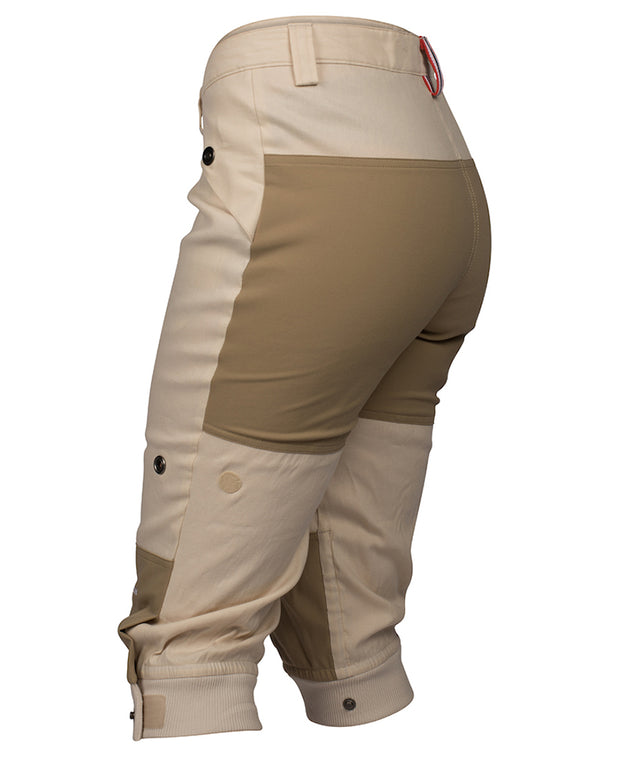 Women's Vagabond Knickerbockers in Desert Sand by Amundsen Sports for Aktiv perfect for hiking in warmer weather Back 3/4 view
