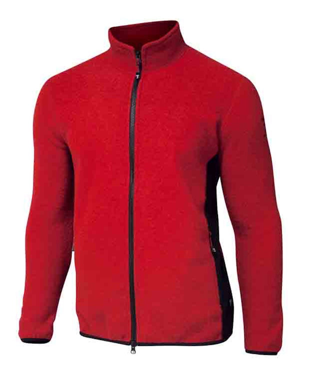Very red zip sweater for men with a black zipper by Ivanhoe of Sweden