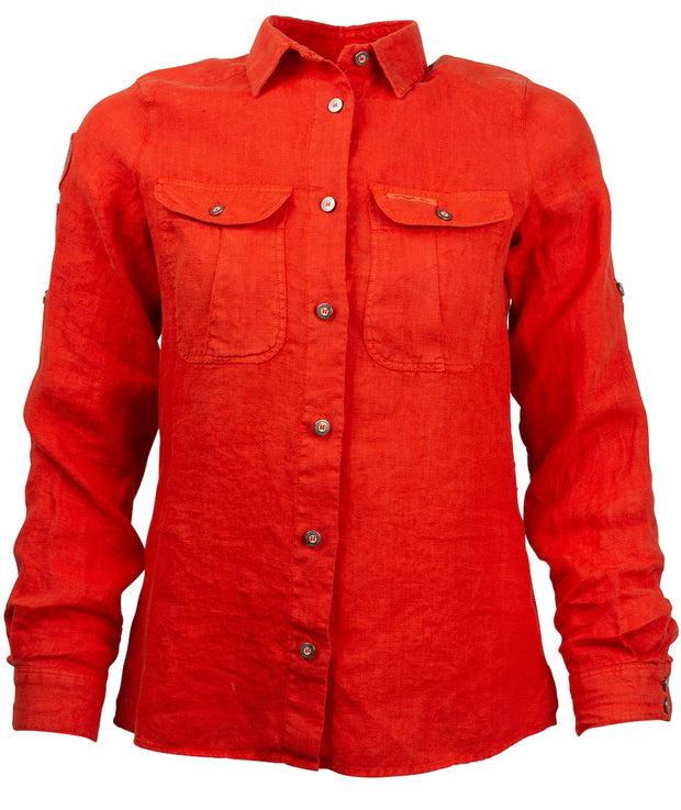 Red Clay colored linen shirt for women by Amundsen Sports