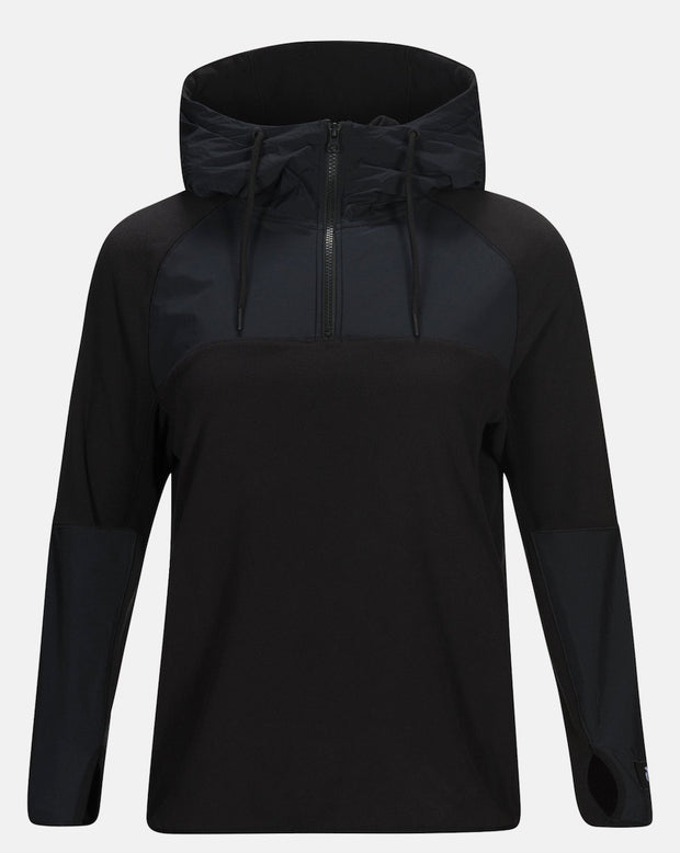 Women's black half zip hoodie by Peak Performance