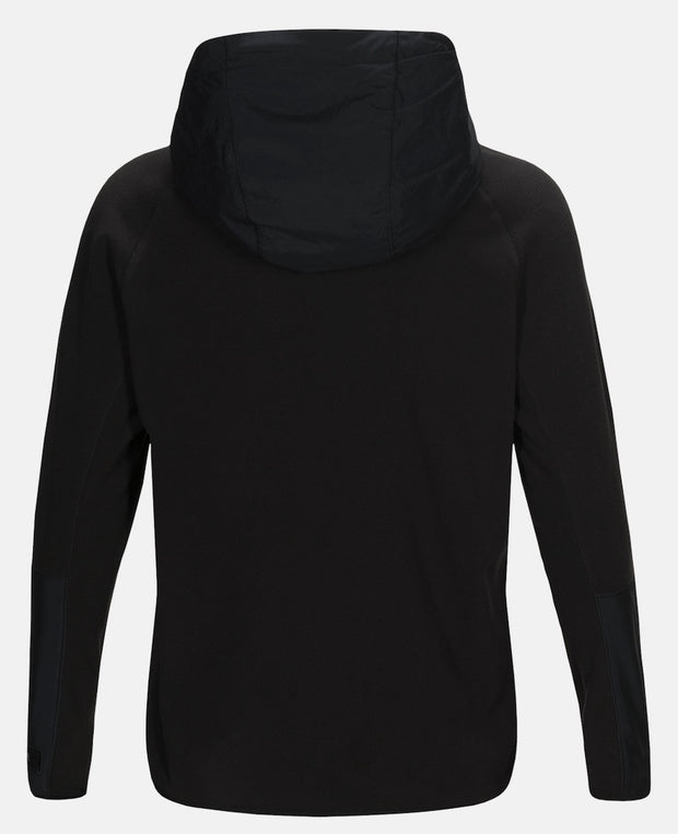 Back of Women's black half zip hoodie by Peak Performance